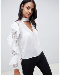 TFNC London Lace Ruffle Sleeve Top With Cut Out Detail - White