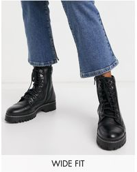 River Island Wide Fit Leather Lace Up Boot - Black