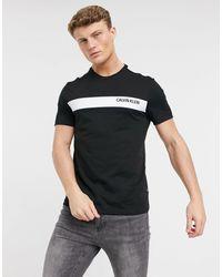 Calvin Klein Черная Футболка С Контрастной Полоской И Логотипом На Груди -черный Цвет