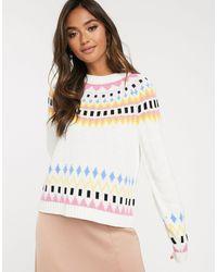 ASOS – Pullover mit Norweger-Skimuster - Mehrfarbig