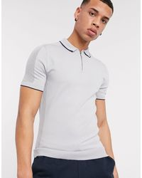 River Island Knitted Polo - Gray