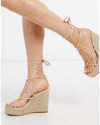 Glamorous Espadrille Wedge Sandal With Ankle Tie - Natural