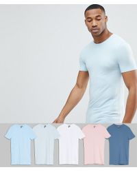 ASOS - Design Longline Muscle Fit T-shirt With Crew Neck 5 Pack Save - Lyst