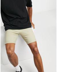 TOPMAN - Pantaloncini chino skinny grigio pietra - Lyst