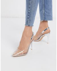 New Look Clear Sling Back Heeled Shoes - Metallic