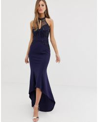 Lipsy High Neck Maxi Dress With Lace Placement In Navy - Blue