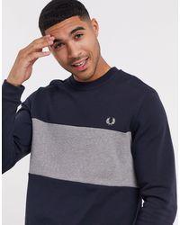 Fred Perry – Marineblaues Sweatshirt mit Rundhalsausschnitt und Farbblockdesign