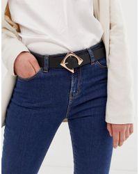 ASOS Geo Buckle Waist And Hip Belt In Rose Gold - Black