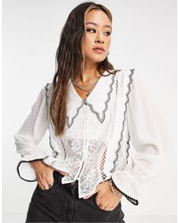 Object Shirt With Lace And Frill Detail - White