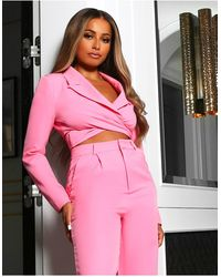 Public Desire X Amber Gill Wrap Detail Cropped Blazer Co-ord - Pink