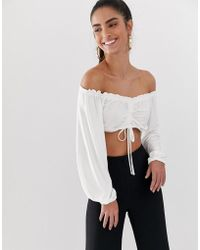 2663603ec0f Flounce London - Bardot Crop Top With Ruched Detail In White - Lyst