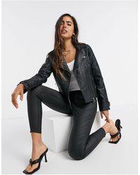 River Island Double Zip Faux Leather Moto Jacket - Black