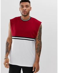 ASOS - Oversized Sleeveless T-shirt With Contrast Yoke And Taping - Lyst