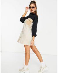 Missguided Светло-бежевое Платье-рубашка Из Поплина В Стиле Колор-блок С Карманами -бежевый - Многоцветный