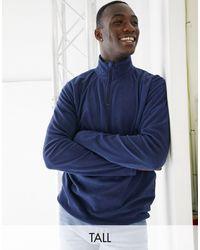 Brave Soul Tall - Felpa accollata con zip corta - Blu