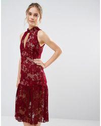 Endless Rose - Frill Hem Key Hole Lace Dress - Lyst