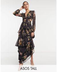 ASOS Asos Design Tall Maxi Dress With Long Sleeve And Circle Trim - Black