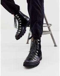 Grenson Черные Кожаные Походные Ботинки Brady-черный