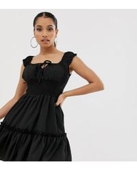 Missguided Layered Shirred Waist Dress In Black