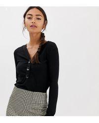 Pimkie Jersey ligero en negro con cuello en V y botones