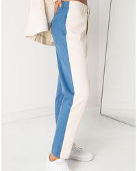 Daisy Street Jean mom d'ensemble motif color block - Bleu