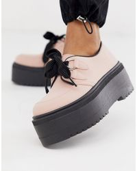 ASOS Murray Chunky Lace Up Flat Shoes - Pink