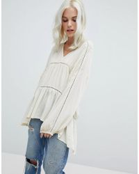 ASOS - V-neck Smock Top With Lace Insert - Lyst