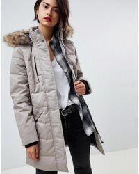 Vero Moda - Padded 3/4 Length Coat With Faux Fur Trim - Lyst