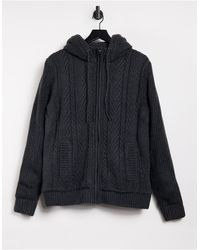 French Connection Wool Blend Borg Lined Hooded Knit Sweater - Gray