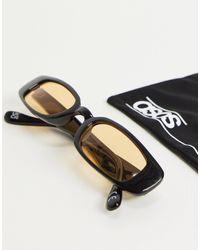 ASOS 90s Skinny Rectangle Sunglasses - Black