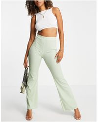 Club L London Ribbed Flare Trousers - Green