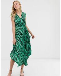 Warehouse Vestito midi con stampa zebrata e scollo ad anello sul retro - Verde