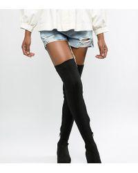 ASOS Kelby Flat Elastic Thigh High Boots - Black