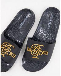 Brave Soul Sliders nere monocromatiche con logo - Nero