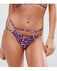 Missguided - Leopard Print Caged Bikini Brief - Lyst