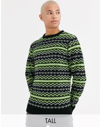 Another Influence Tall - Maglione Fair Isle - Verde