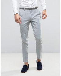 ASOS - Wedding Skinny Suit Pant In Crosshatch Nep - Lyst
