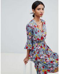 Y.A.S Bold Floral Mini Wrap Dress - Blue