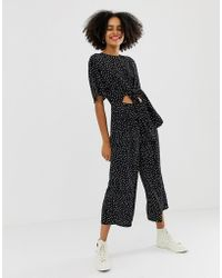 Glamorous Relaxed Jumpsuit With Tie Front In Spaced Spot Print - Black