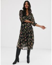 Stradivarius Midi Dress In Tulle Floral Print - Black