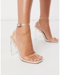 ASOS - Norton Clear Barely There Heeled Sandals - Lyst