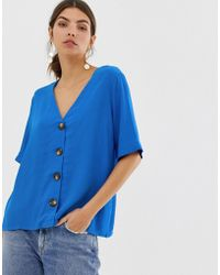 Y.A.S Button Down Oversized Blouse - Blue
