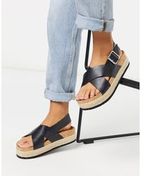 Monki Jannike Cross Strap Flatform - Black
