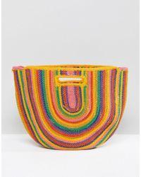 Bershka - Rainbow Colour Straw Bag In Multi - Lyst