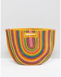 Bershka - Rainbow Colour Straw Bag In Multi - Lyst