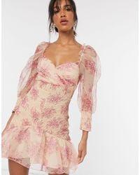 ASOS Gesmokte Organza Mini-jurk Met Pofmouwen En Bloemenprint - Roze