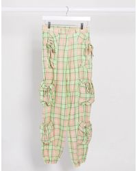 The Ragged Priest Relaxed Cargo Trousers With Pockets - Green