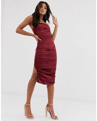 The Girlcode Ruched Satin Midaxi Dress - Red