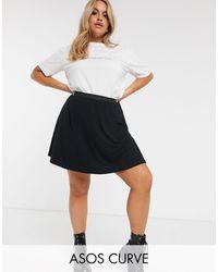 ASOS Asos Design Curve Elasticated Waist Flippy Mini Skirt - Black