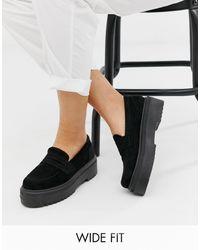 ASOS Vamped Loafers Met Dikke Zool En Brede Pasvorm - Zwart